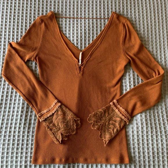 Free People Lace Cuff Copper Thermal Top
